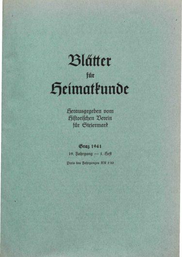 Blätter Jg19 Titelseite 375x530 - Jahrgang 19 (1941)