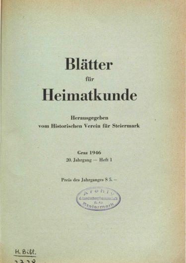 Blätter Jg20 Titelseite 375x530 - Jahrgang 20 (1946)