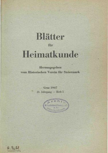 Blätter Jg21 Titelseite 375x530 - Jahrgang 21 (1947)