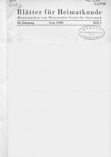 Blätter Jg22 Titelseite 375x530 - Jahrgang 22 (1948)