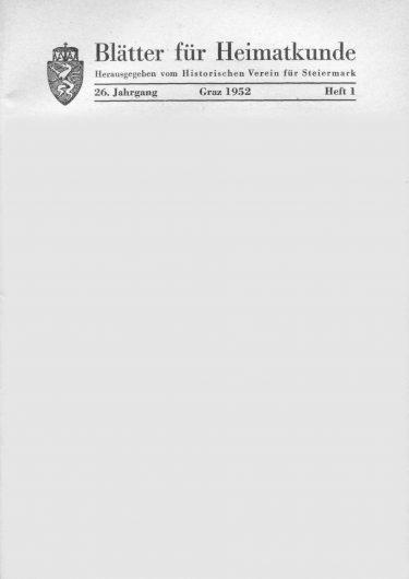 Blätter Jg26 Titelseite 375x530 - Jahrgang 26 (1952)