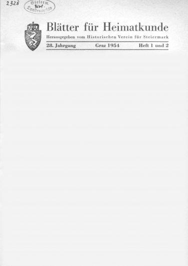 Blätter Jg28 Titelseite 375x530 - Jahrgang 28 (1954)