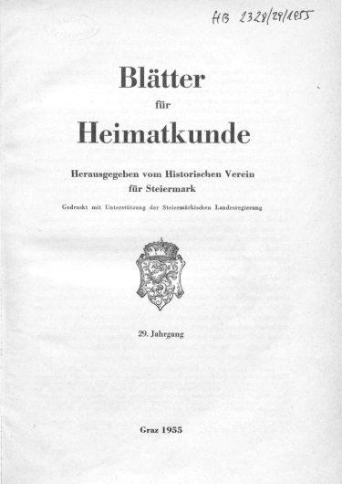 Blätter Jg29 Titelseite 375x530 - Jahrgang 29 (1955)