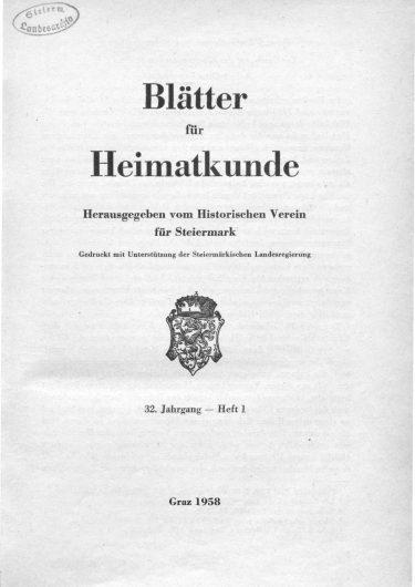 Blätter Jg32 Titelseite 375x530 - Jahrgang 32 (1958)
