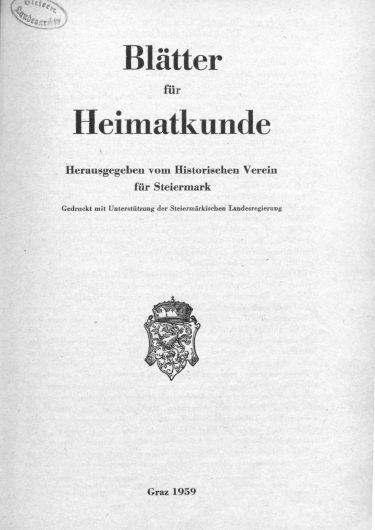 Blätter Jg33 Titelseite 375x530 - Jahrgang 33 (1959)