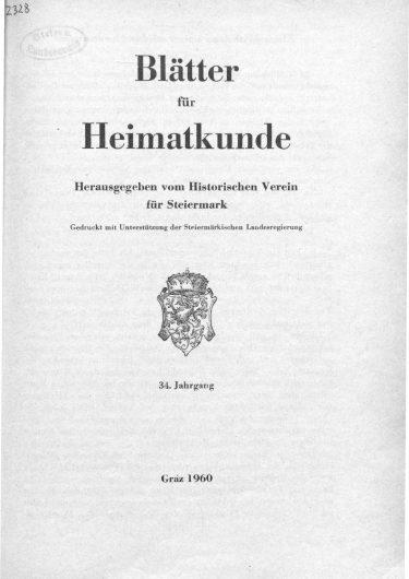 Blätter Jg34 Titelseite 375x530 - Jahrgang 34 (1960)