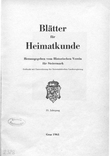 Blätter Jg35 Titelseite 375x530 - Jahrgang 35 (1961)