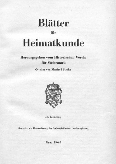 Blätter Jg38 Titelseite 375x530 - Jahrgang 38 (1964)