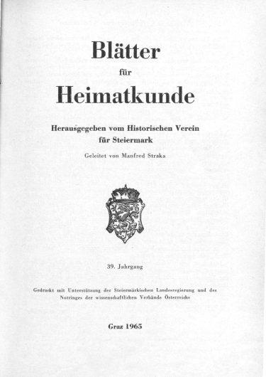 Blätter Jg39 Titelseite 375x530 - Jahrgang 39 (1965)