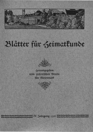 Blätter Jg4 Titelseite 375x530 - Jahrgang 4 (1926)
