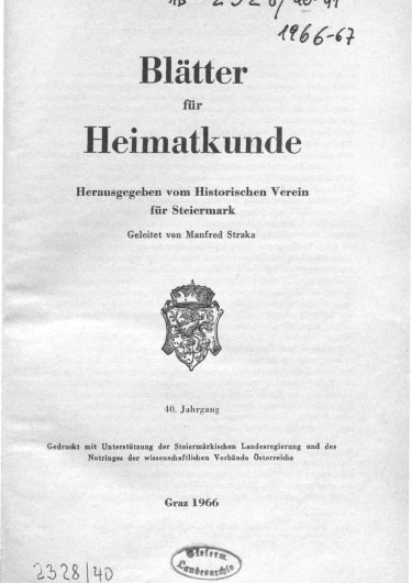 Blätter Jg40 Titelseite 375x530 - Jahrgang 40 (1966)