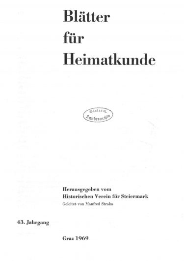 Blätter Jg43 Titelseite 375x530 - Jahrgang 43 (1969)