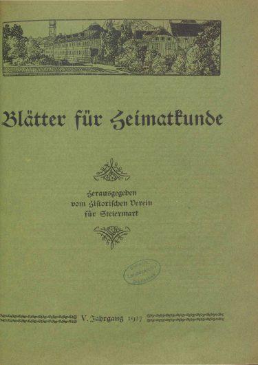 Blätter Jg5 Titelseite 375x530 - Jahrgang 5 (1927)