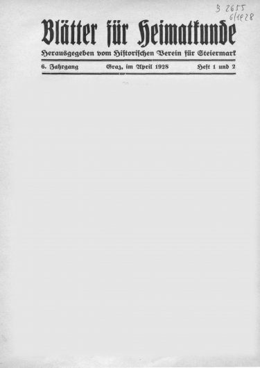 Blätter Jg6 Titelseite 375x530 - Jahrgang 6 (1928)