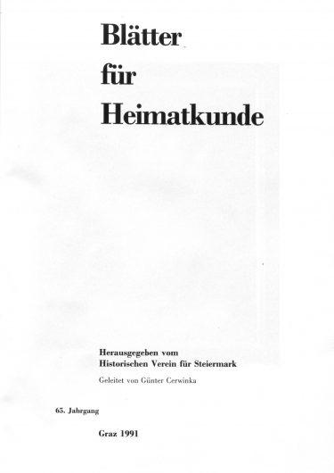 Blätter Jg65 Titelseite 375x530 - Jahrgang 65 (1991)