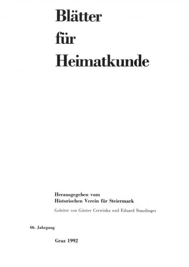 Blätter Jg66 Titelseite 375x530 - Jahrgang 66 (1992)