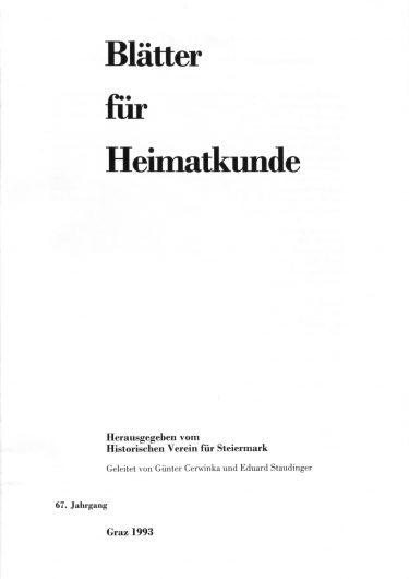 Blätter Jg67 Titelseite 375x530 - Jahrgang 67 (1993)