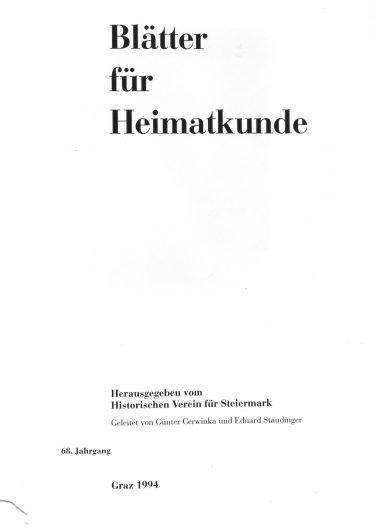 Blätter Jg68 Titelseite 375x530 - Jahrgang 68 (1994)