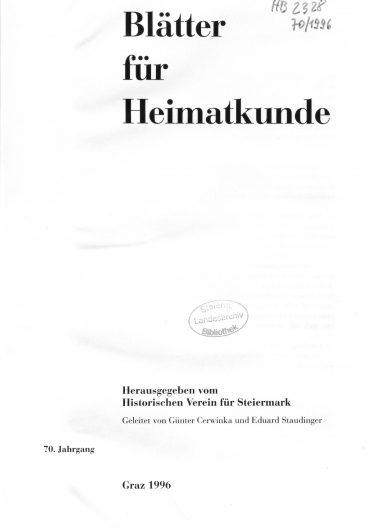 Blätter Jg70 Titelseite 375x530 - Jahrgang 70 (1996)