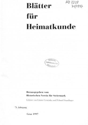 Blätter Jg71 Titelseite 375x530 - Jahrgang 71 (1997)
