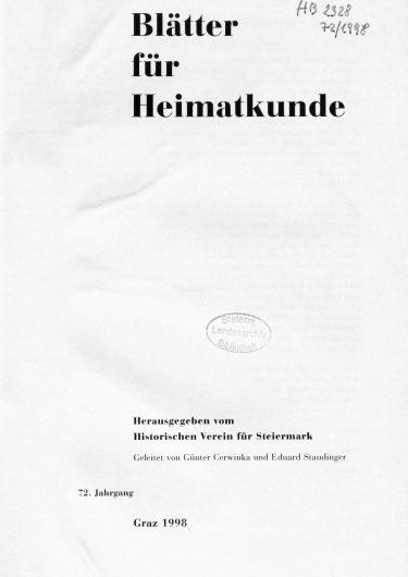 Blätter Jg72 Titelseite 375x530 - Jahrgang 72 (1998)