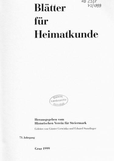 Blätter Jg73 Titelseite 375x530 - Jahrgang 73 (1999)