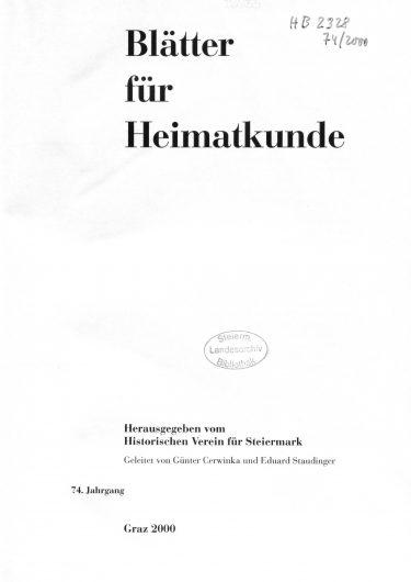Blätter Jg74 Titelseite 375x530 - Jahrgang 74 (2000)