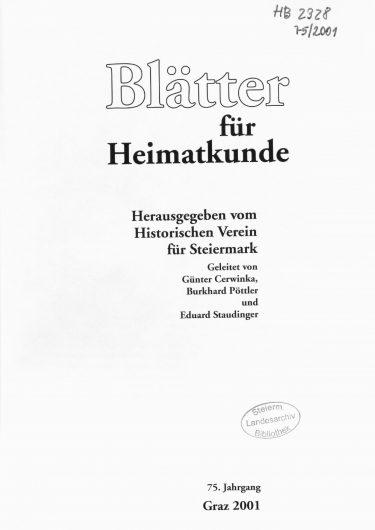 Blätter Jg75 Titelseite 375x530 - Jahrgang 75 (2001)