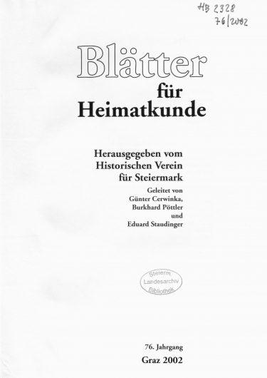 Blätter Jg76 Titelseite 375x530 - Jahrgang 76 (2002)
