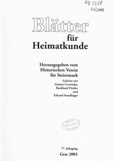 Blätter Jg77 Titelseite 375x530 - Jahrgang 77 (2003)