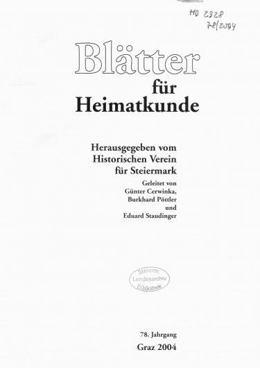 Blätter Jg78 Titelseite 375x530 - Jahrgang 78 (2004)