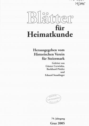 Blätter Jg79 Titelseite 375x530 - Jahrgang 79 (2005)