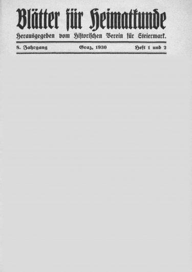 Blätter Jg8 Titelseite 375x530 - Jahrgang 8 (1930)
