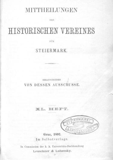 Mitheilungen Heft 40 Titelseite 375x530 - 40. Heft (1892)