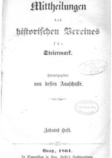 Mittheilungen Heft 10 Titelseite 375x530 - 10. Heft (1861)