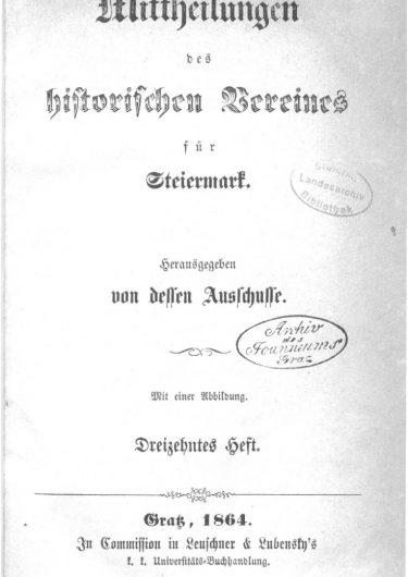 Mittheilungen Heft 13 Titelseite 375x530 - 13. Heft (1864)