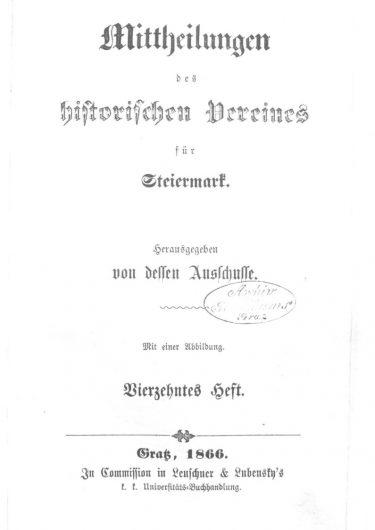 Mittheilungen Heft 14 Titelseite 375x530 - 14. Heft (1866)