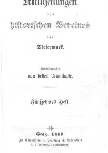 Mittheilungen Heft 15 Titelseite 375x530 - 15. Heft (1867)