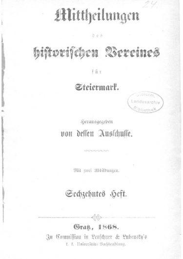 Mittheilungen Heft 16 Titelseite 375x530 - 16. Heft (1868)