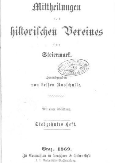 Mittheilungen Heft 17 Titelseite 375x530 - 17. Heft (1869)