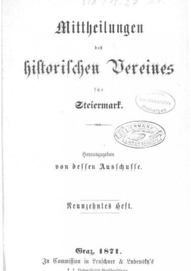 Mittheilungen Heft 19 Titelseite 375x530 - 19. Heft (1871)