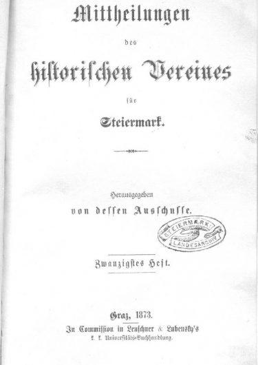 Mittheilungen Heft 20 Titelseite 375x530 - 20. Heft (1873)