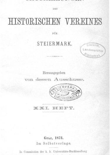 Mittheilungen Heft 21 Titelseite 375x530 - 21. Heft (1873)