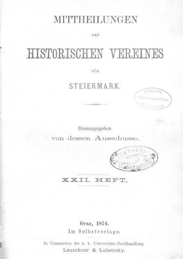 Mittheilungen Heft 22 Titelseite 375x530 - 22. Heft (1874)