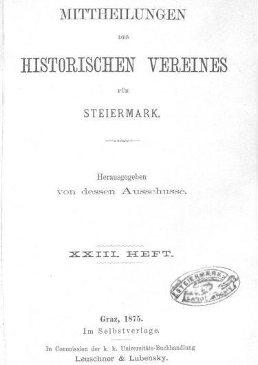 Mittheilungen Heft 23 Titelseite 375x530 - 23. Heft (1875)