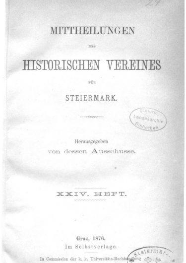 Mittheilungen Heft 24 Titelseite 375x530 - 24. Heft (1876)