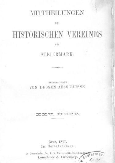 Mittheilungen Heft 25 Titelseite 375x530 - 25. Heft (1877)