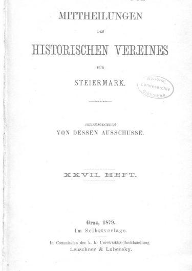 Mittheilungen Heft 27 Titelseite 375x530 - 27. Heft (1879)