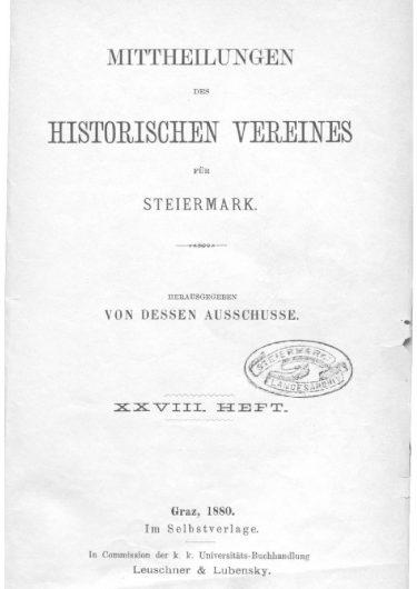 Mittheilungen Heft 28 Titelseite 375x530 - 28. Heft (1880)