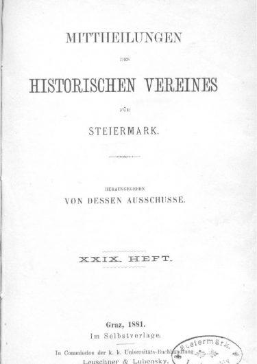 Mittheilungen Heft 29 Titelseite 375x530 - 29. Heft (1881)